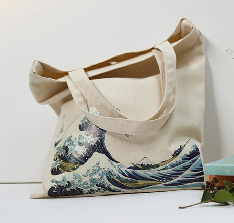 Cotton Sea Wave Print Grocery Tote Shopping Bags - Earth Ark Boutique