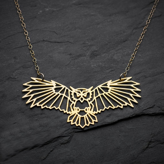 Gold Origami Geometric Owl Necklace - Earth Ark Boutique