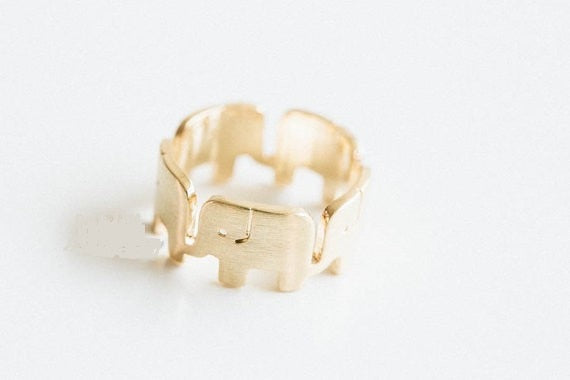 Gold Silver Elephant Ring - Earth Ark Boutique