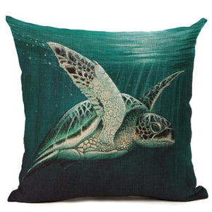 Cotton & Linen Sea Turtle Cushion Cover - Earth Ark Boutique