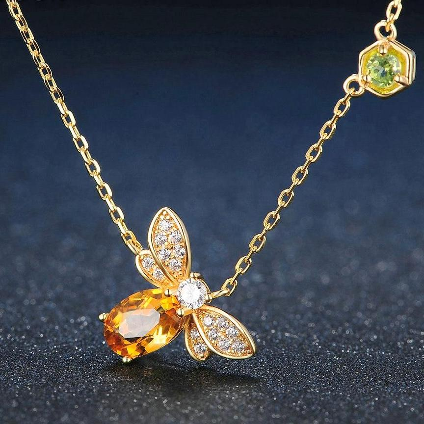 Gold & Citrine Bee Pendant Necklace - Earth Ark Boutique