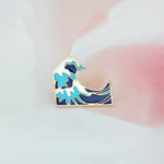 """Blue waves"" Enamel Pin Brooch - Earth Ark Boutique"