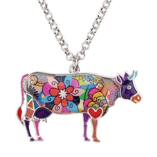 Enamel Cow Pendant Necklace - Earth Ark Boutique