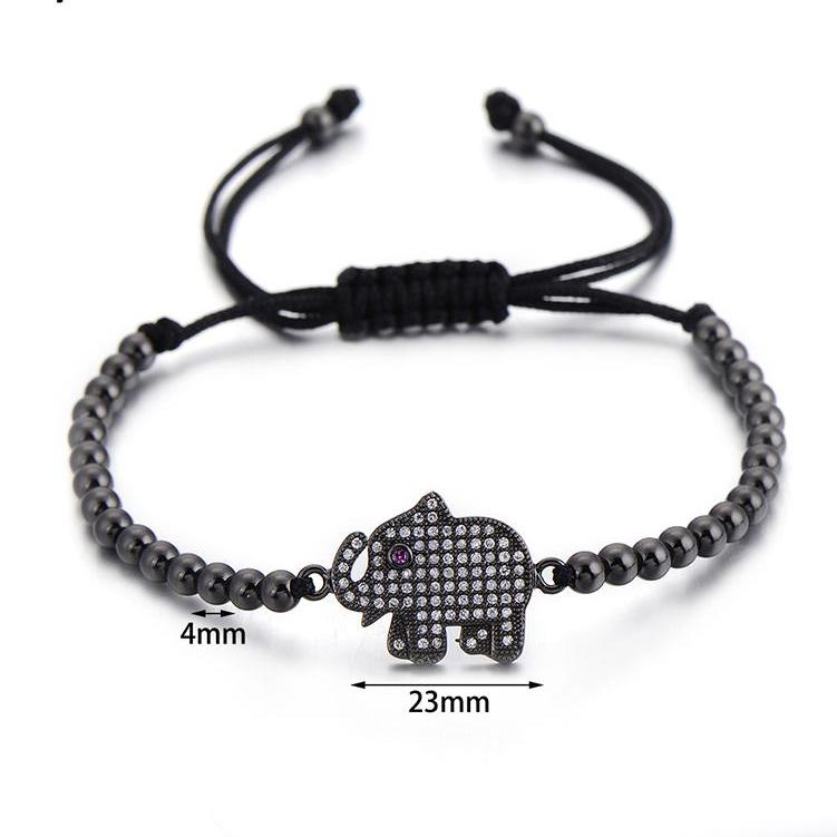 Elephant Charm Macrame Bracelet With Cubic Zirconia - Earth Ark Boutique