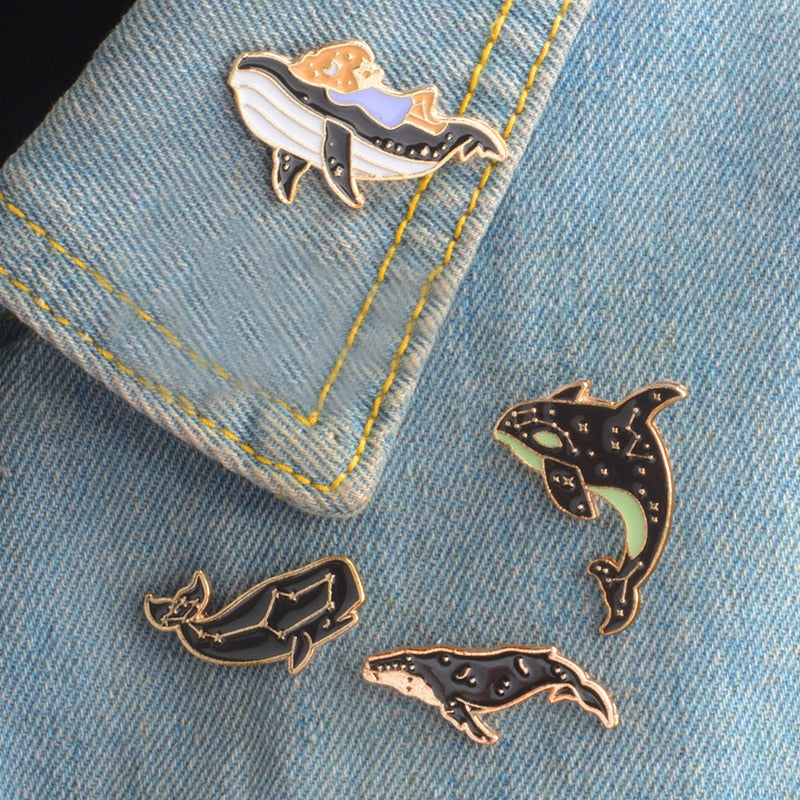 Whale Constellation Enamel Pin Brooch Lapel Pin Badge Jewelry - Earth Ark Boutique