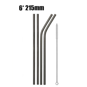 Reusable Drinking Straws Stainless Steel Metal Straw with Cleaner Brush - Earth Ark Boutique