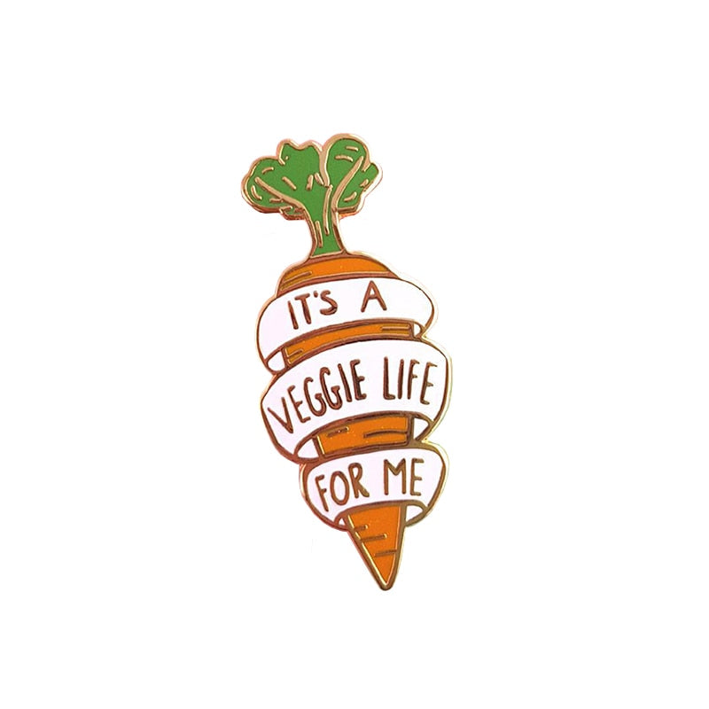 """It's a veggie life for me"" enamel pin brooch - Earth Ark Boutique"