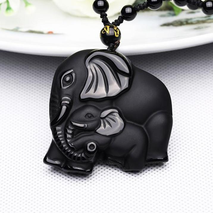 Black Obsidian Carved Mother & Baby Elephant Amulet - Earth Ark Boutique