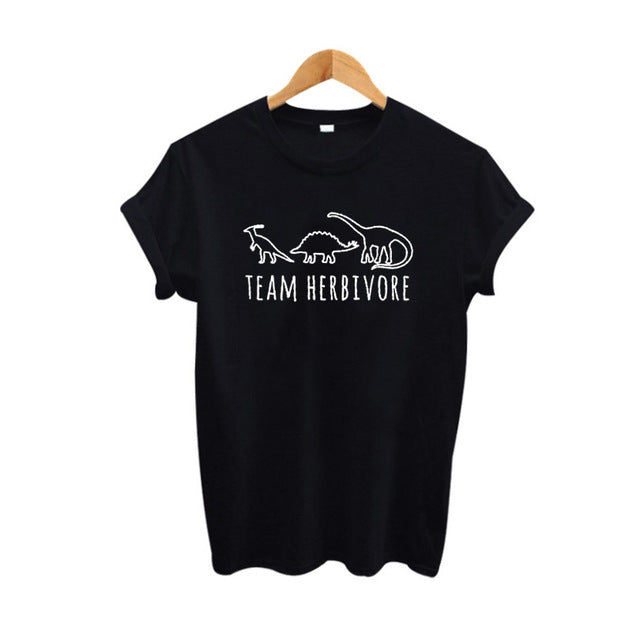 """Team Herbivore"" Print Cotton T-shirt - Earth Ark Boutique"