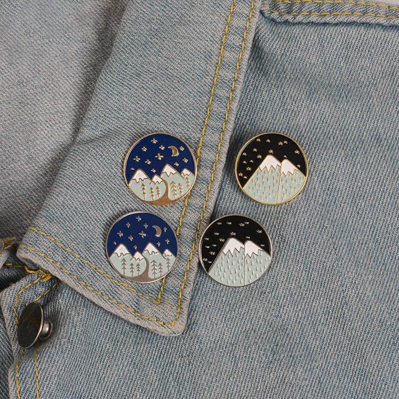 Snowy Mountain Enamel Lapel Pin Brooches - Earth Ark Boutique