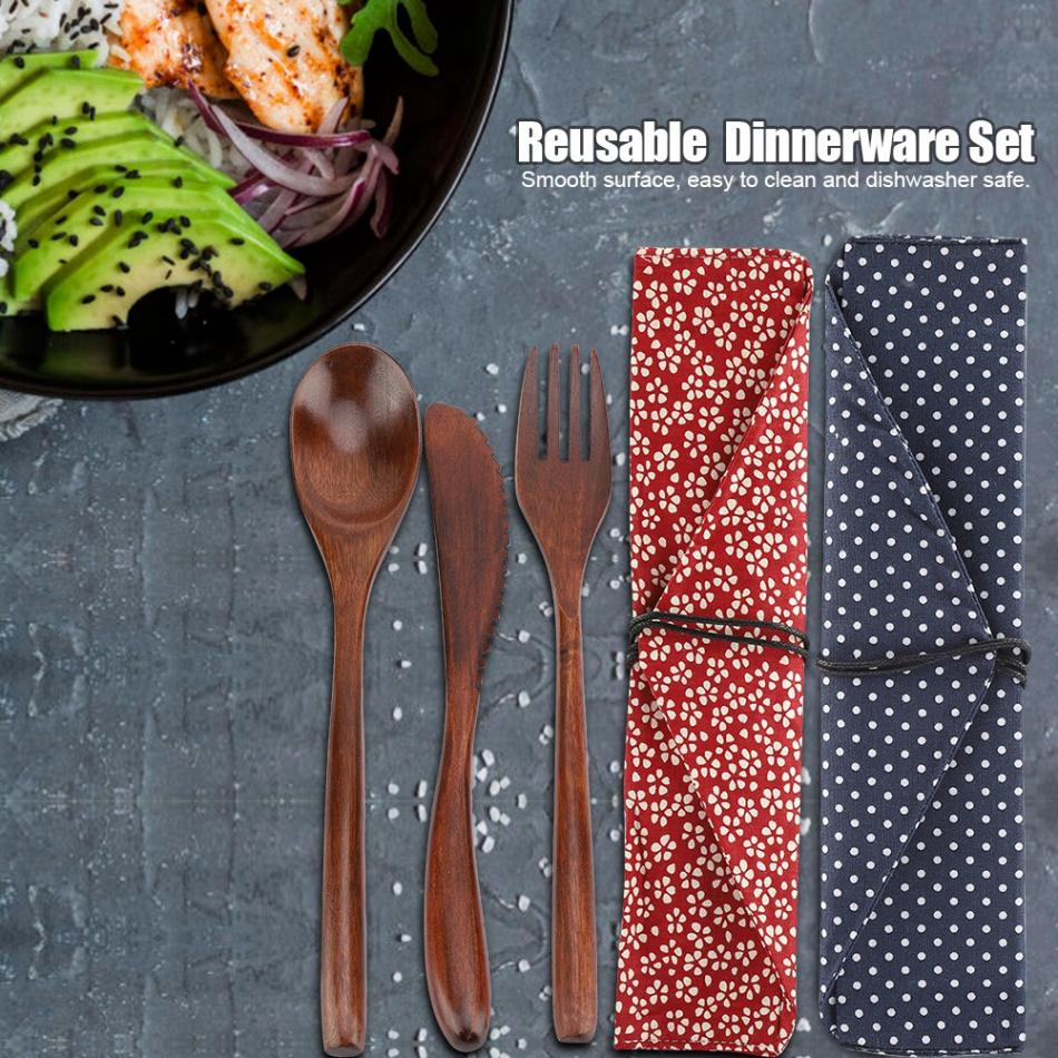 Re-usable Bamboo Wooden Cutlery Set - Earth Ark Boutique