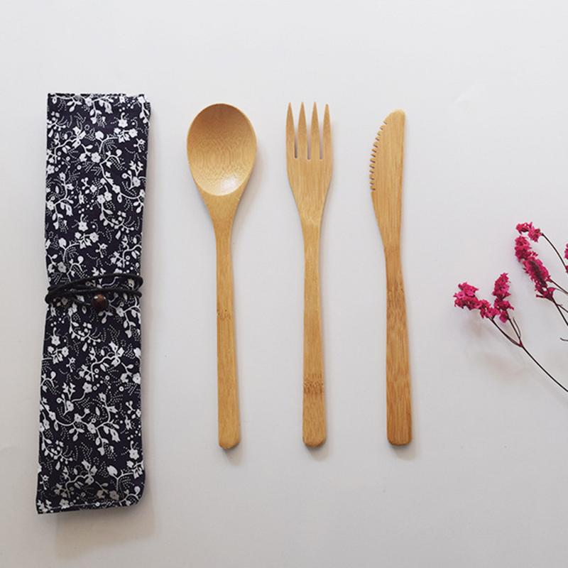 Japanese Style Re-usable Bamboo Wooden Cutlery Set - Earth Ark Boutique