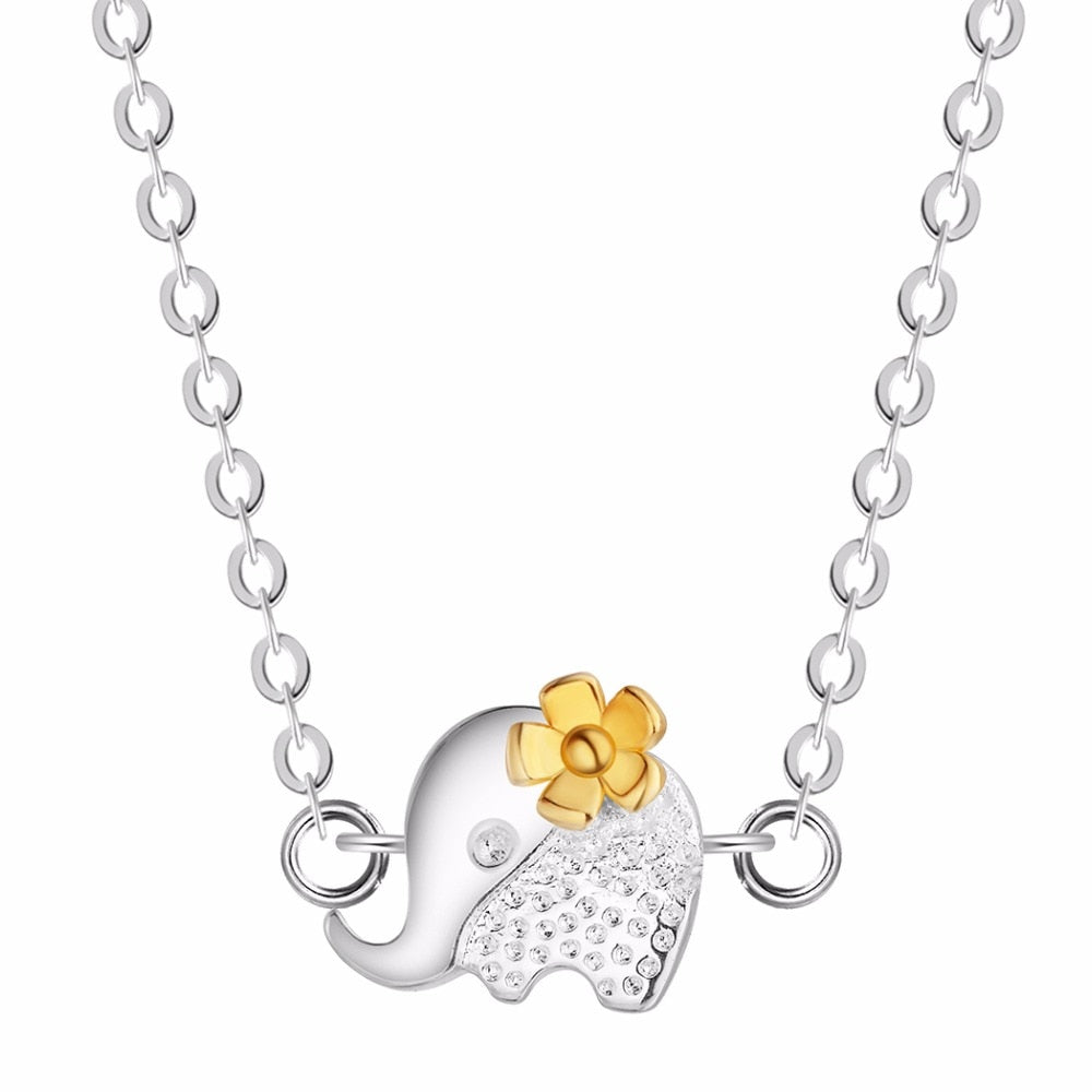 Sterling Silver Elephant with Gold Flower Necklace - Earth Ark Boutique