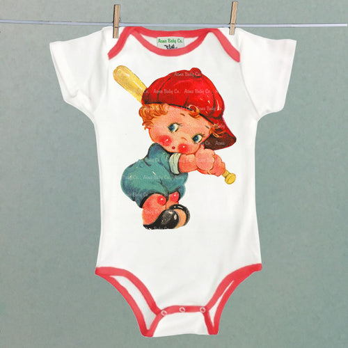 Acme Baby Co. - Baseball Cutie Bodysuit with Red Trim