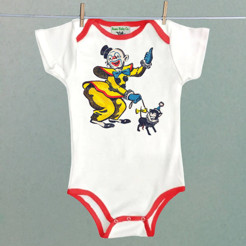 Acme Baby Co. - Circus Clown and Chihuahua Bodysuit with Color Trim