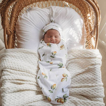 Load image into Gallery viewer, Lemon Snuggle Swaddle & Beanie Set