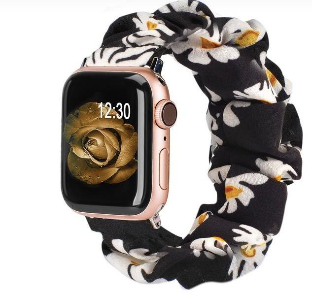 White Flower Scrunchie Apple Watch Band