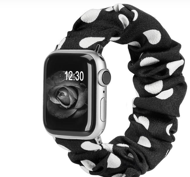 White Dot Scrunchie Apple Watch Band