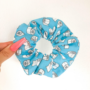 Blue toilet paper scrunchies