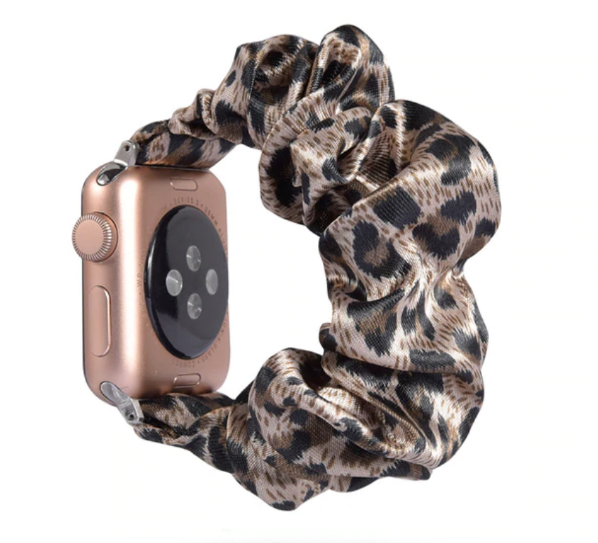 Champagne Leopard Scrunchie Apple Watch Band