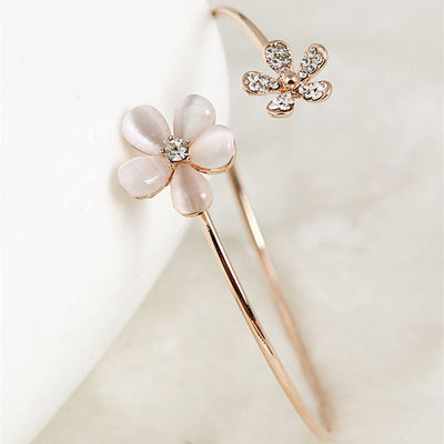 THE POSY - CRYSTAL DOUBLE FLOWER CUFF BRACELET