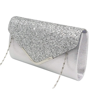 ARGENT FROUFROU - SILVER GLITTER ENVELOPE CLUTCH