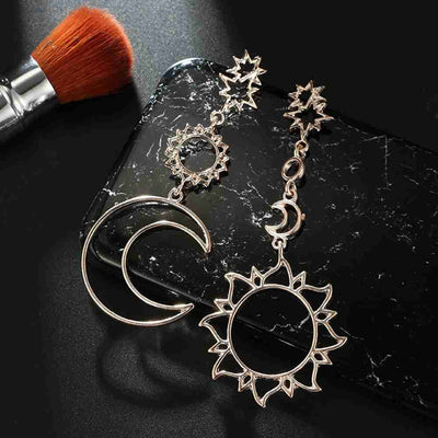 Hawaiian Sun Star Moon Hollow Metal Earrings