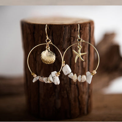ATLANTIS - SEA SHELL STARFISH STONE BEAD EARRINGS