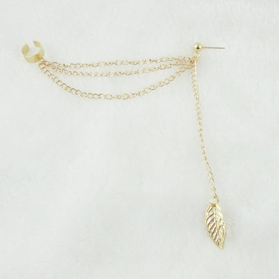 LEAFY DREAMS - LEAF SHAPED TASSEL CUFF EARRINGS