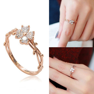 Elegant Zircon Flower Finger Rings For Women