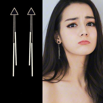 DARK TRYST - LONG TRIANGLE TASSEL BAR DROP EARRINGS