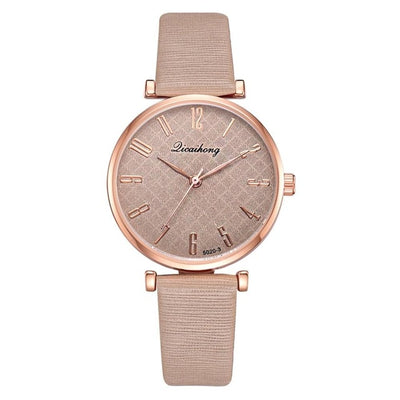 SIMPLE TIMES - MINIMALIST QUARTZ LEATHER GOLDEN RIM WRIST WATCH