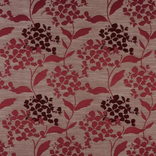 Hydrangea curtain fabric in cranberry