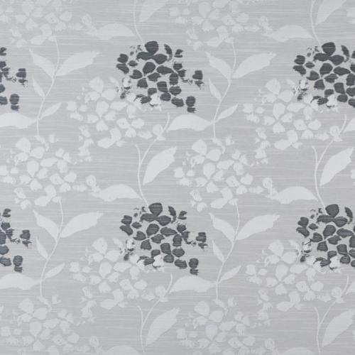 Hydrangea curtain fabric in sterling