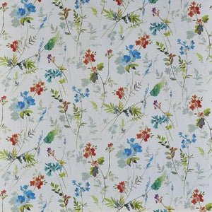 a repetitive digital floral cotton print fabric featuring a tuileries design in spring blue by Prestigious Tetxiles on a cotton cloth
