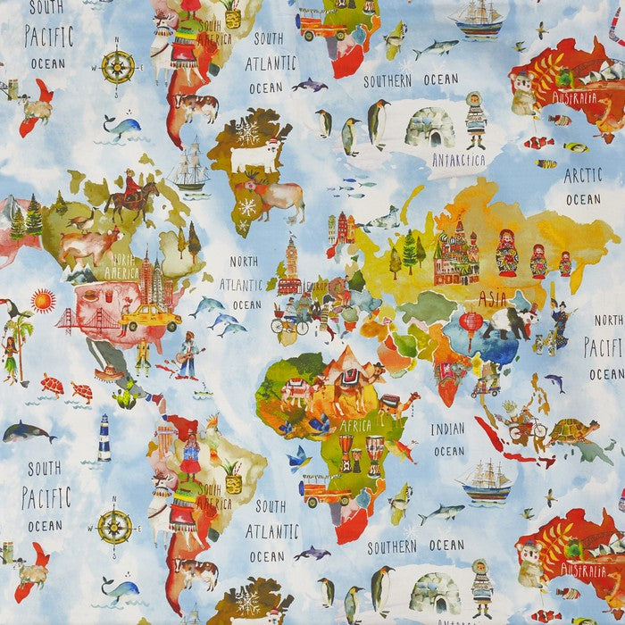 a novelty world map adventure curtain fabric in a rainbow colourway by Prestigious Tetxiles on a 100% cotton cloth