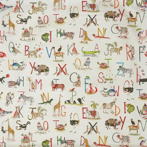a children's themed animal alphabet cotton print fabric by Prestigious Textiles in fudge brown on a 100% cotton cloth