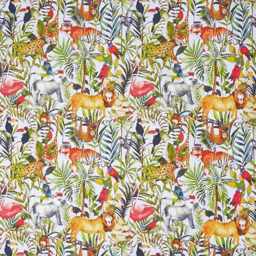 a novelty animal themed children's cotton print fabric by Prestigious Tetxiles in a waterfall colourway on a 100% cotton cloth