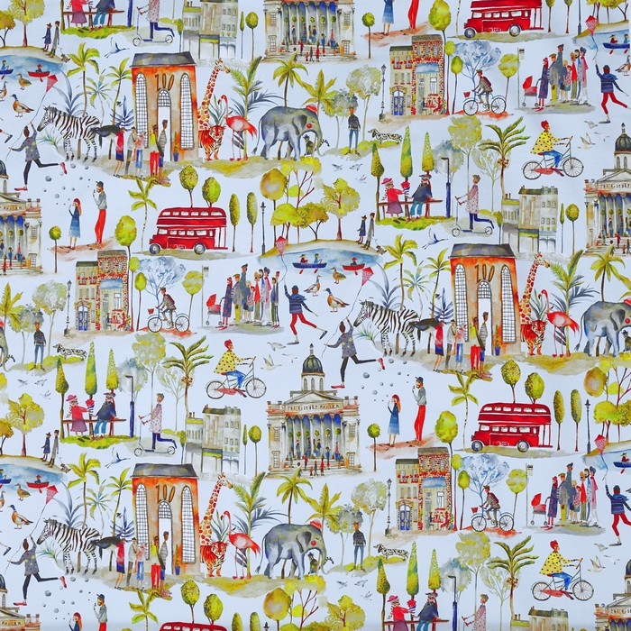 Out And About curtain fabric in sky blue