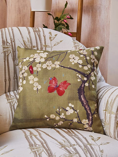 Blossom & Butterfly Basil Cushion | The Chateau