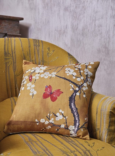 Blossom & Butterfly Ochre Cushion | The Chateau