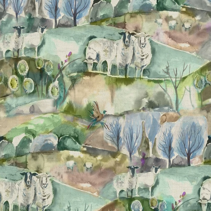 Voyage Buttermere Curtain Fabric | Sage - Designer Curtain & Blinds