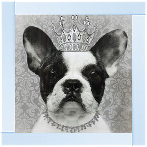 French Bulldog Crown | Silver Mirror Frame | 55cm x 55cm