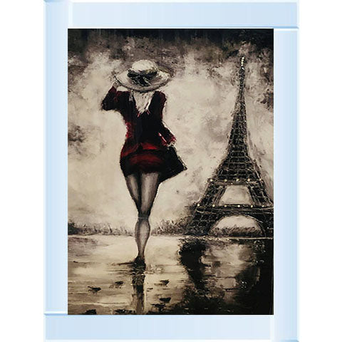 Eiffel Tower Red Lady | Silver Mirror Frame | 75cm x 105cm