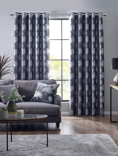 Belfield Design Studio Enchanted Forest Ready Made Curtains | Charcoal