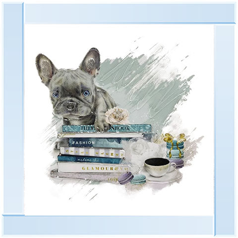 Blue French Bulldog Books  | Silver Mirror Frame | 55cm x 55cm