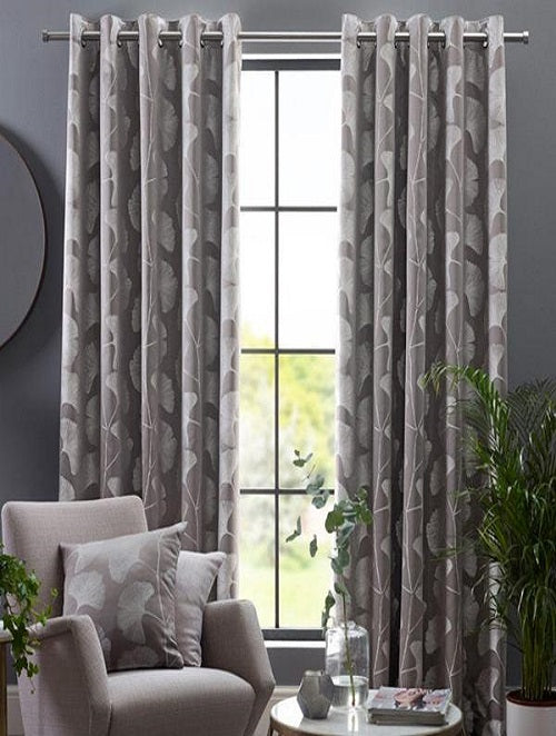 Belfield Design Studio Gingko Ready Made Curtains | Steeple Grey