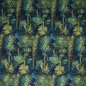 Forbidden Forest curtain fabric in Sapphire by Prestigious Textiles