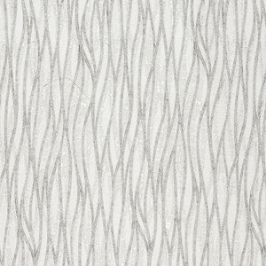Linear curtain fabric in Silver by Fryetts