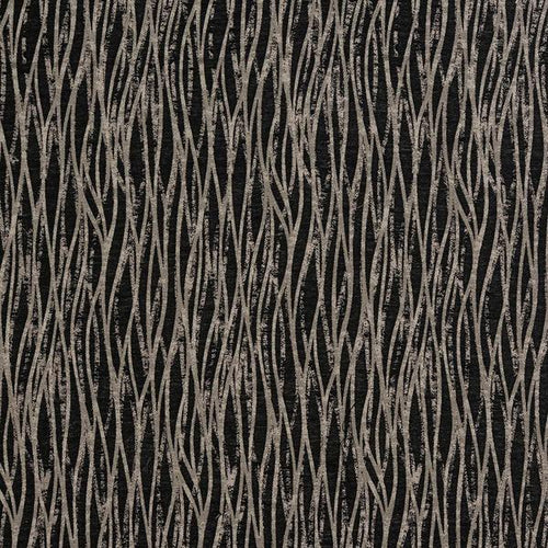 Linear curtain fabric in Noir by Fryetts